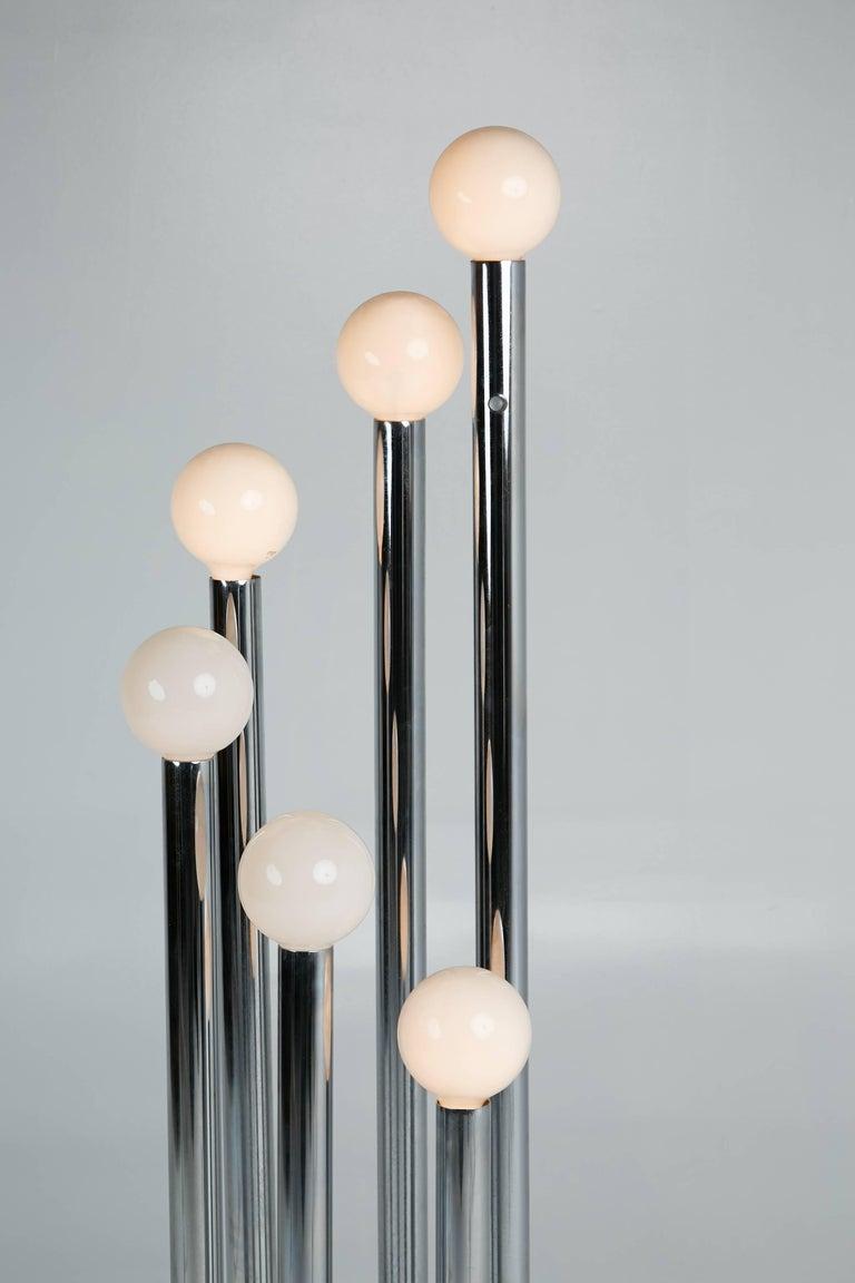 Modern 70s Chrome Multi Bulb Standing Floor Lamp Circa