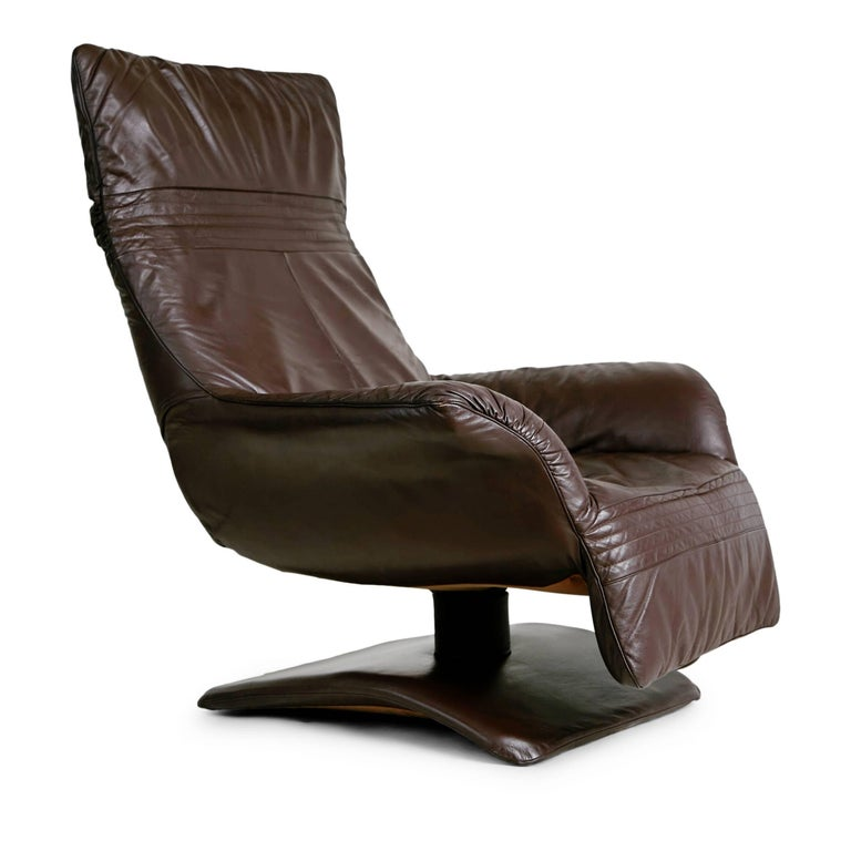 Scandinavian Modern Leather Club Chairs With Adjustable Headrests, Pair For Sale At 1stdibs