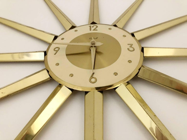 Mid-Century Modern Large Roxhall Brass Spike Sunburst Clock, circa 1960 For Sale
