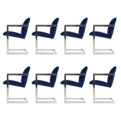 Newly Upholstered Velvet and Chrome Dining Chairs by Bernhardt, Set of Eight