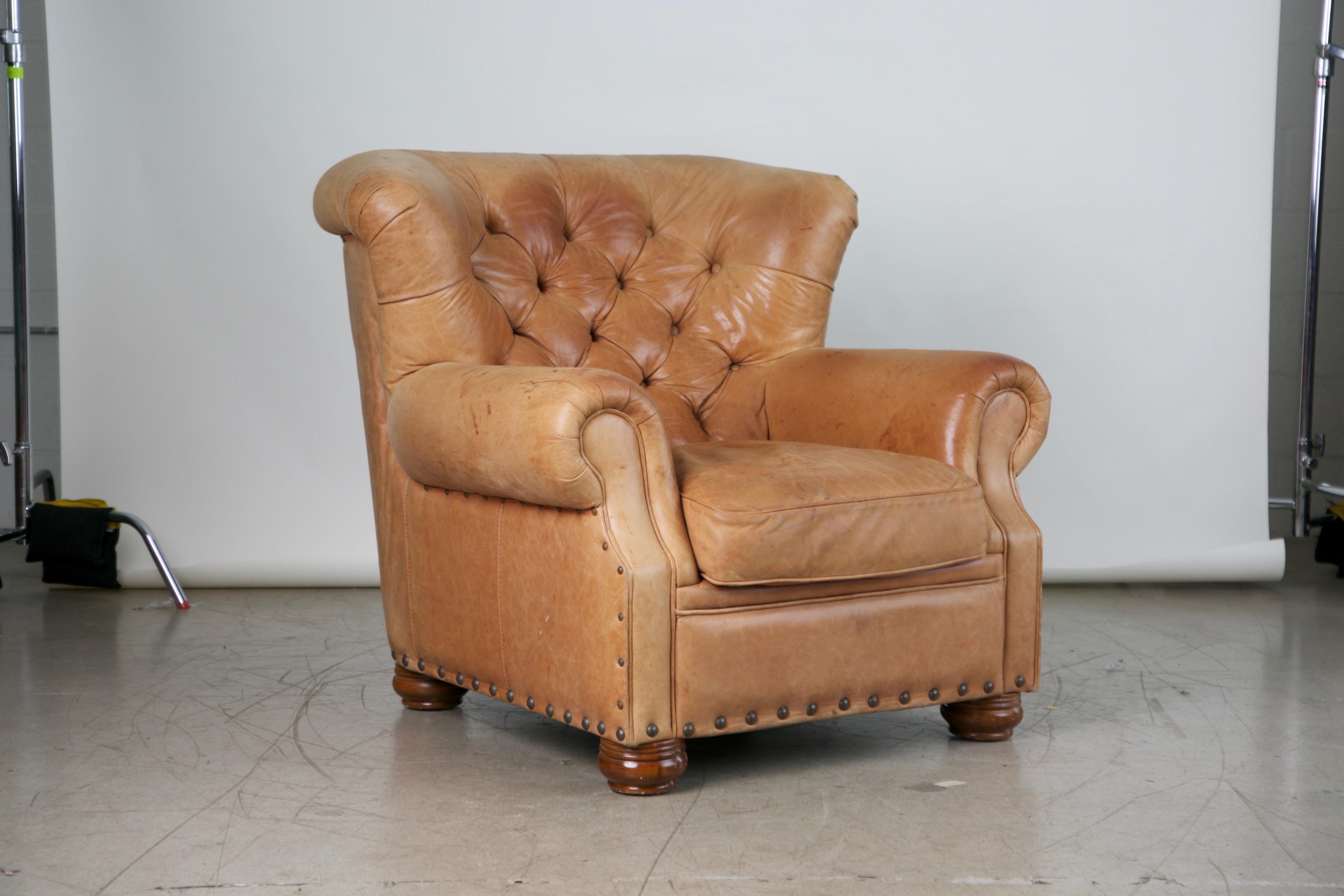 Modern Tufted Leather Armchair And Ottoman In The Style Of Ralph Lauren For  Sale
