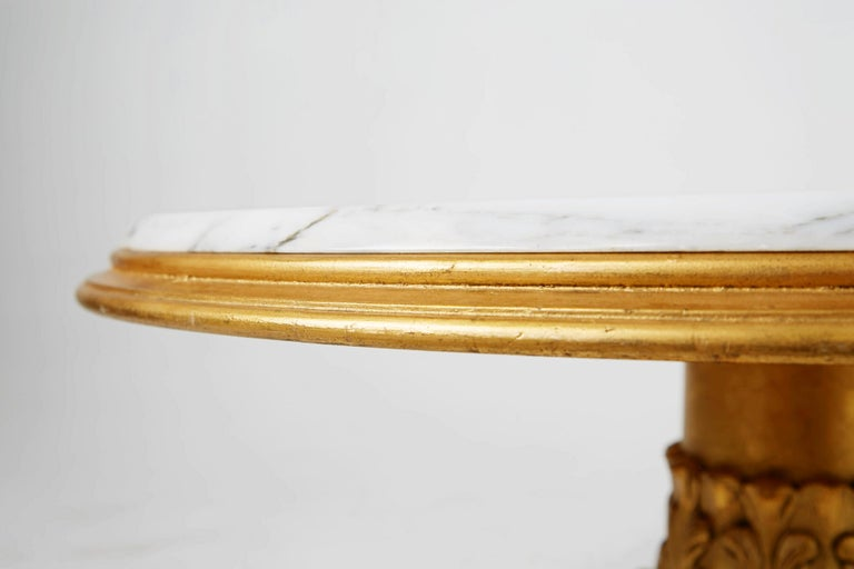 Francisco Hurtado Marble and Giltwood Coffee Table, Spain, circa 1950 For Sale 1