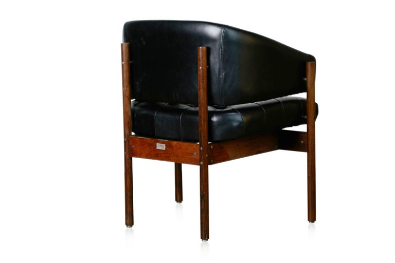 Original Jorge Zalszupin Rosewood & Leather Armchairs, Produced in 1972, Brazil In Good Condition For Sale In Los Angeles, CA