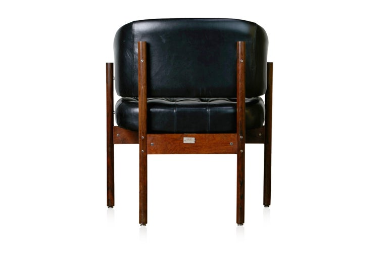 Late 20th Century Original Jorge Zalszupin Rosewood & Leather Armchairs, Produced in 1972, Brazil For Sale