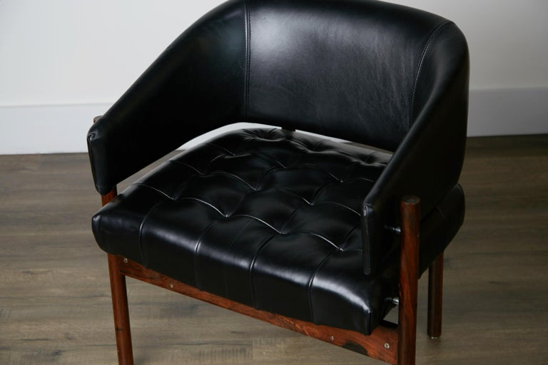 Original Jorge Zalszupin Rosewood & Leather Armchairs, Produced in 1972, Brazil For Sale 7