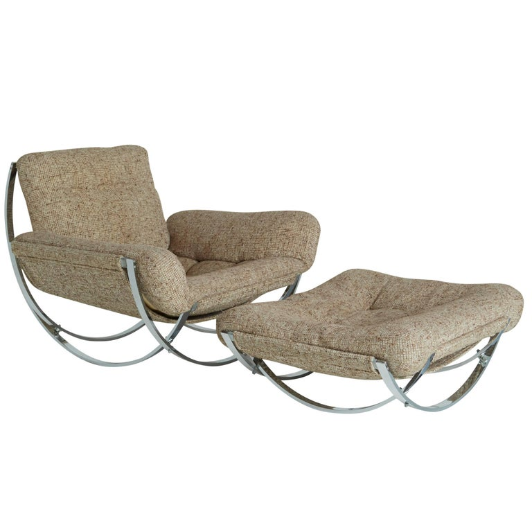 Floating Tan Wool Sculptural Lounge Chair and Ottoman by Lennart Bender, 1970s For Sale