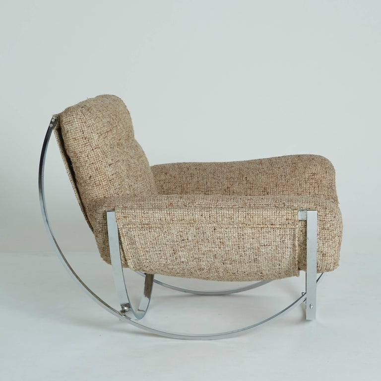 Mid-Century Modern Floating Tan Wool Sculptural Lounge Chair and Ottoman by Lennart Bender, 1970s For Sale