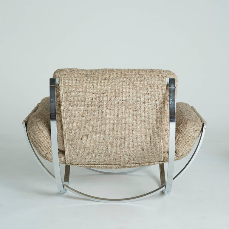 Unknown Floating Tan Wool Sculptural Lounge Chair and Ottoman by Lennart Bender, 1970s For Sale