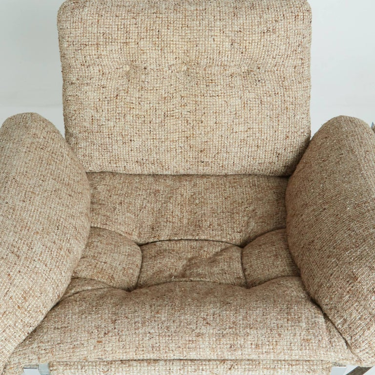 Late 20th Century Floating Tan Wool Sculptural Lounge Chair and Ottoman by Lennart Bender, 1970s For Sale