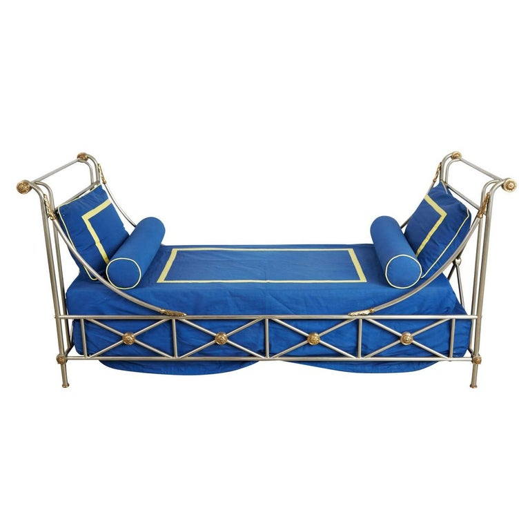 Maison Jansen Brass and Brushed Nickel Daybed, circa 1960s, Italy For Sale 1