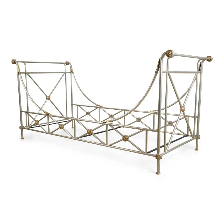 Mid-Century Modern Maison Jansen Brass and Brushed Nickel Daybed, circa 1960s, Italy For Sale
