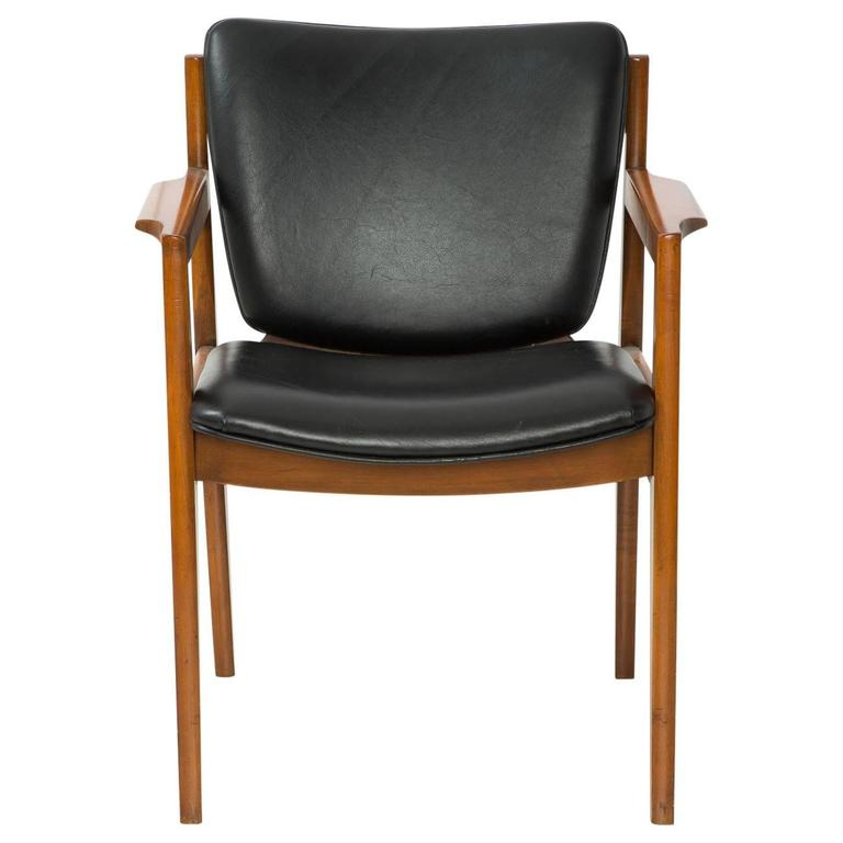 Danish Leather Armchair Danish Modern Black Leather Armchair At 1stdibs