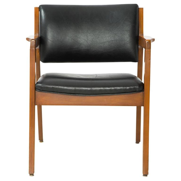 Elegant Great Danish Modern Armchair With Black Leather Upholstery On The Seat And  Backrest. Fantastic Condition