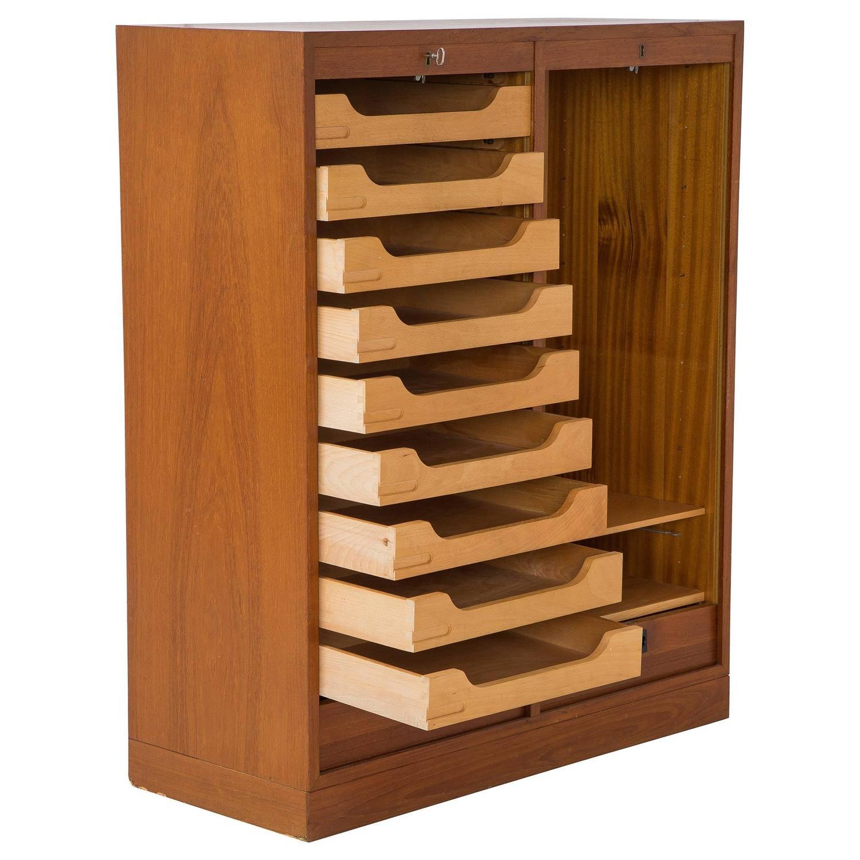 Danish Modern Lockable Tambour Storage Cabinet At 1stdibs