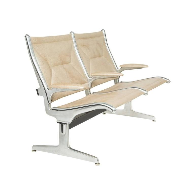 American Eames for Herman Miller Two-Seat Tandem Sling Airport Chair For Sale