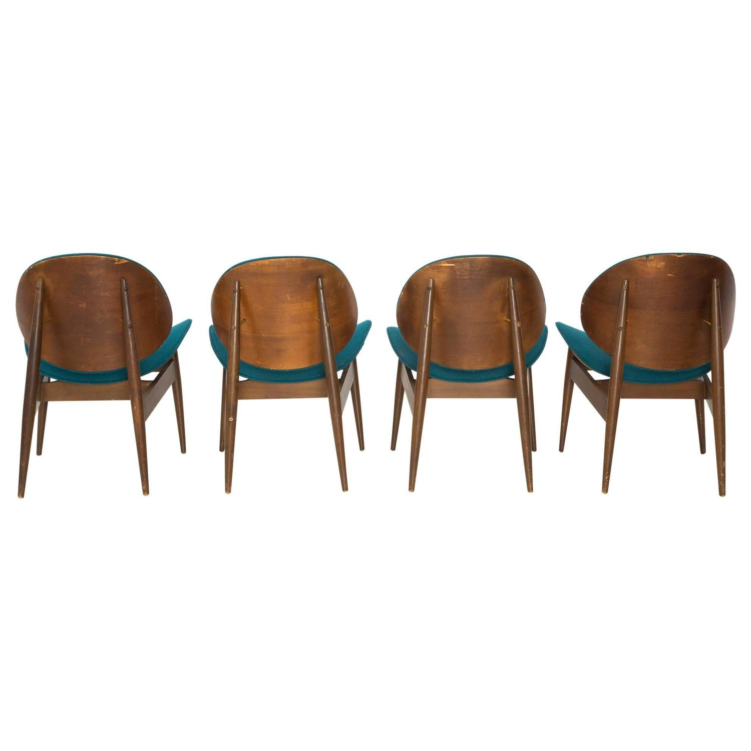 Set of 4 kodawood bentwood clam chairs with teal for Teal chairs for sale