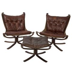 Pair of Sigurd Ressell Leather Falcon Chairs and Ottoman
