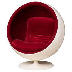 Eero Aarnio Red Velvet Ball Chair for Asko