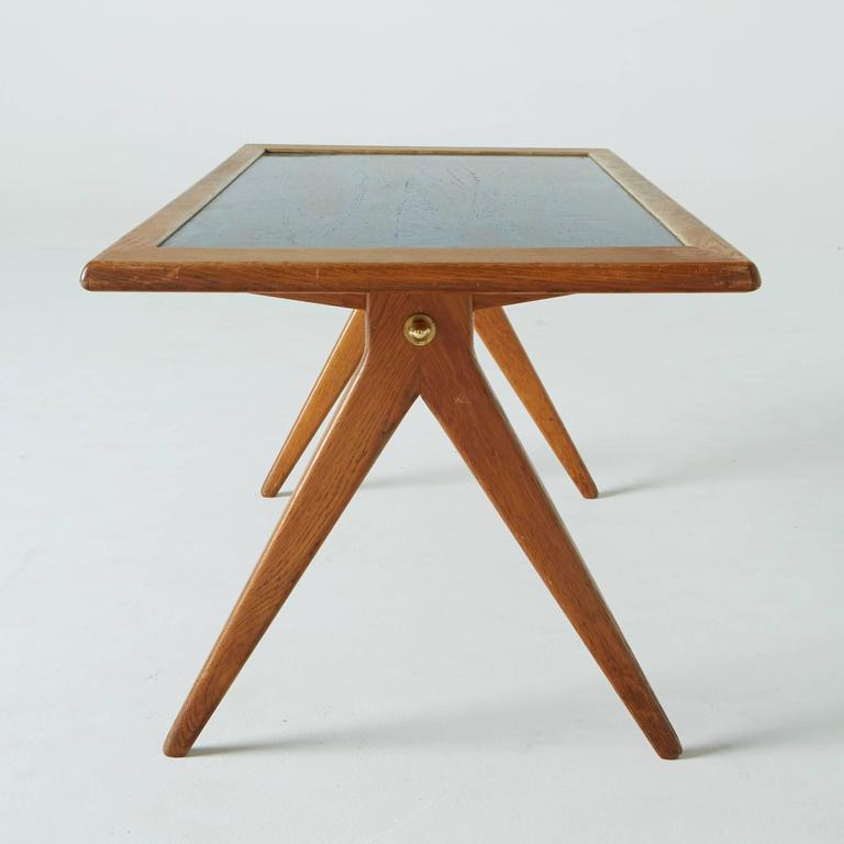 Mid-Century Modern Stig Lindberg and David Rosen for Nordiska Kompaniet Enamel Coffee Table, 1955 For Sale