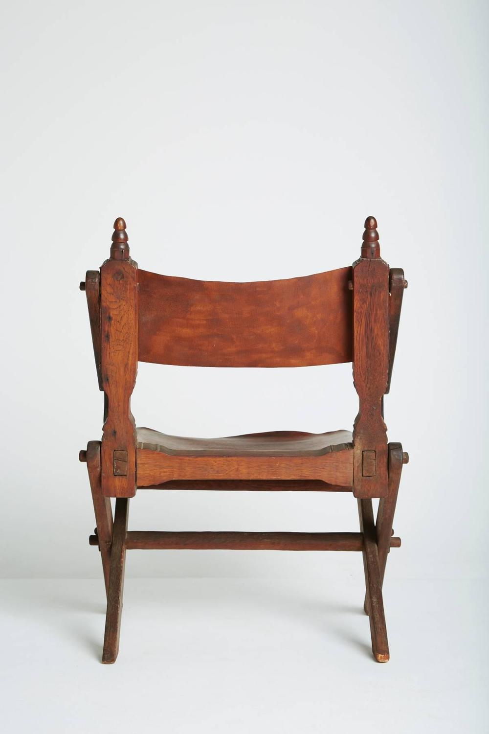 Handcrafted Leather And Carved Wood Mexican Modern Chair For Sale At 1stdibs