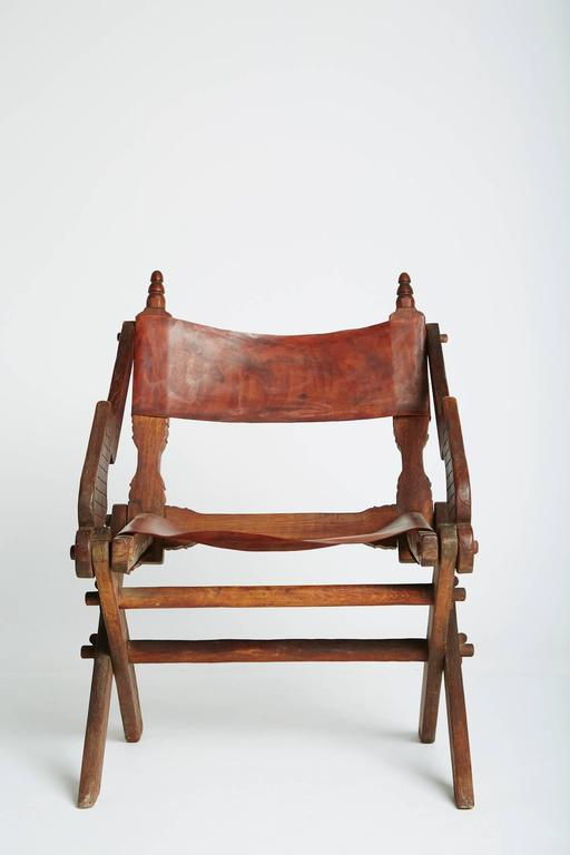 Handcrafted Leather And Carved Wood Mexican Modern Chair