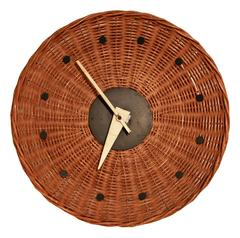 "Woven Rattan ""Basket Clock"" by George Nelson for Howard Miller, 1950s, Rare"