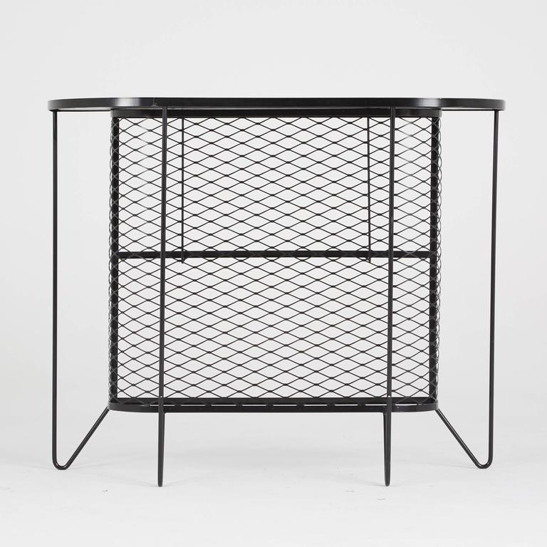 Mid-Century Modern Frederick Weinberg, Restored Three-Piece Wrought Iron Bar and Stools, 1950s For Sale