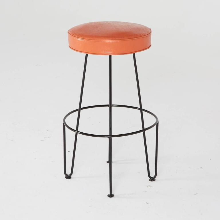 Frederick Weinberg, Restored Three-Piece Wrought Iron Bar and Stools, 1950s In Excellent Condition For Sale In Los Angeles, CA