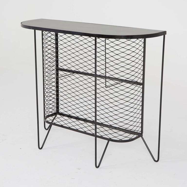 American Frederick Weinberg, Restored Three-Piece Wrought Iron Bar and Stools, 1950s For Sale
