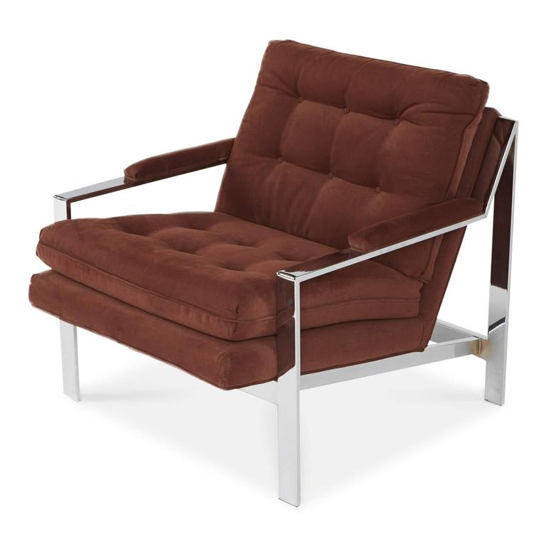 Designed by Cy Mann for Cy Mann Designs Ltd New York, this sleek club chair parallels Milo Baughman's recognized designs and attests to be an equal icon for Modern lounge seating.