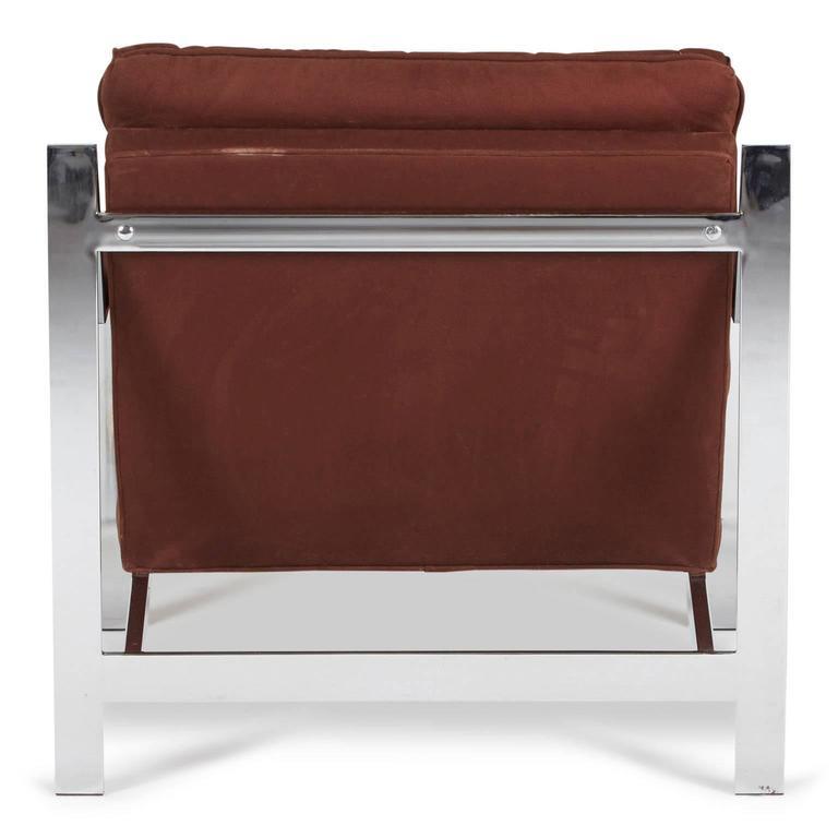 Fabric Cy Mann Chrome Lounge Chair for Cy Mann Designs Ltd, circa 1970s For Sale