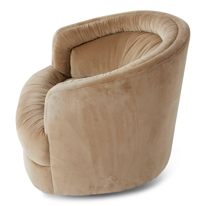 Milo Baughman Style Velvet Swivel Barrel Chair For Sale At