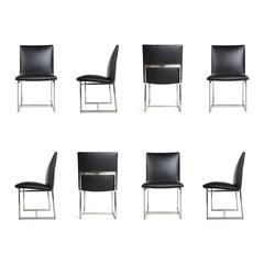 Set Milo Baughman 8 Dining Chairs Reupholstered in Edelman Leather, circa 1970