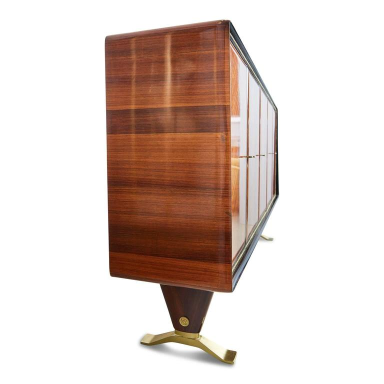 Paolo Buffa Attr Rosewood Parquetry & Brass Art Deco Buffet Cabinet, circa 1950 In Excellent Condition For Sale In Los Angeles, CA