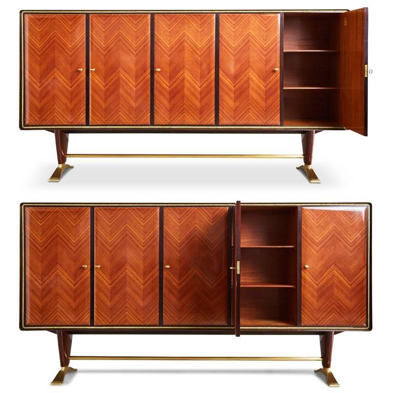 Italian Paolo Buffa Attr Rosewood Parquetry & Brass Art Deco Buffet Cabinet, circa 1950 For Sale