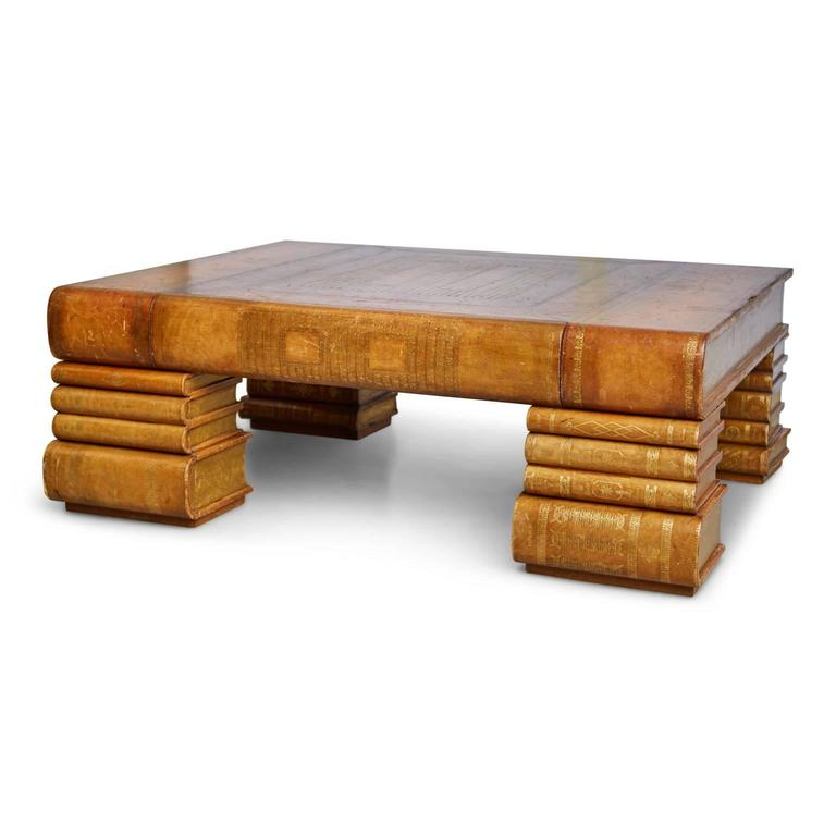 Maitland Smith Oversized Embossed Leather Books Coffee Table At 1stdibs