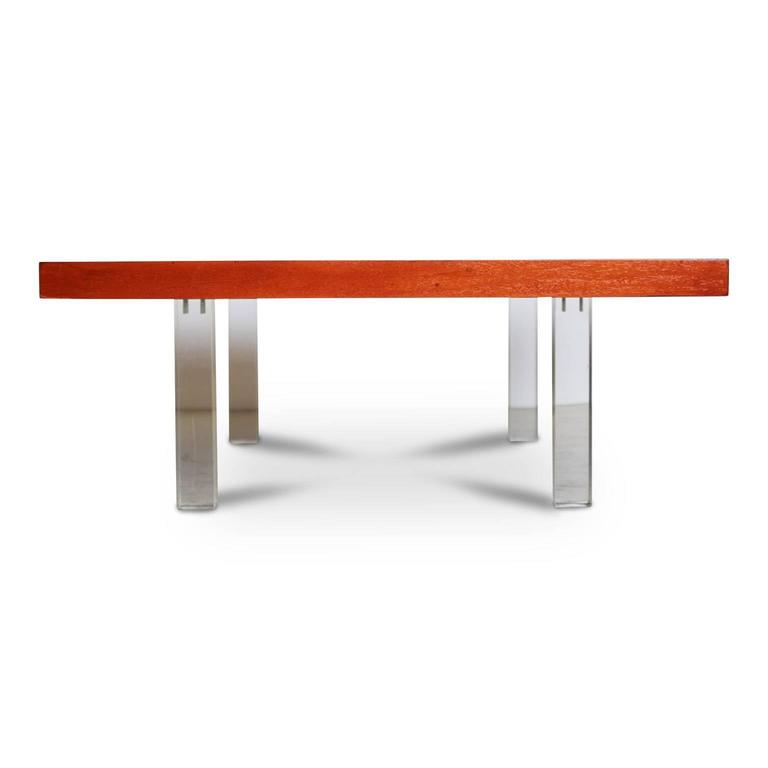 Mid-Century Modern Milo Baughman for Directional Walnut and Lucite Coffee Table, 1960s, Restored For Sale