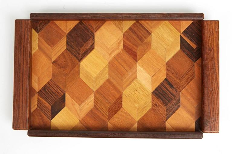 Don Shoemaker Cocobolo, Rosewood Inlaid Trays for Señal, circa 1970 In Excellent Condition For Sale In Culver City, CA