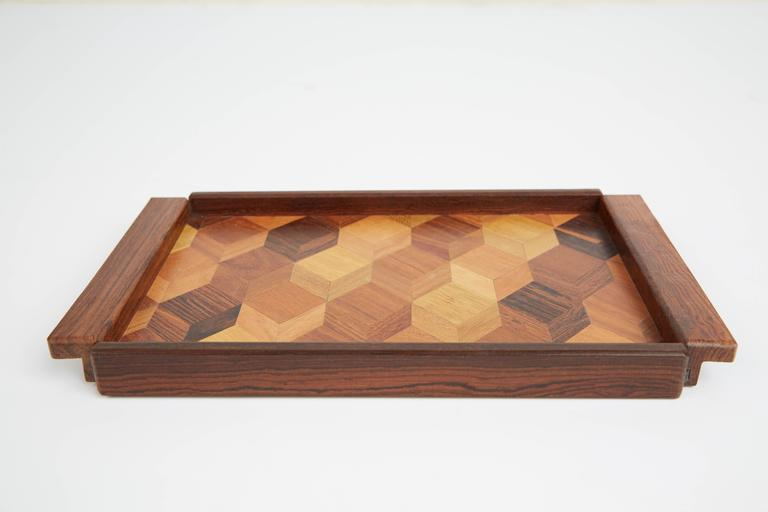 Ash Don Shoemaker Cocobolo, Rosewood Inlaid Trays for Señal, circa 1970 For Sale