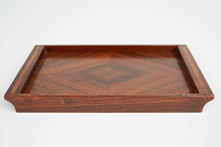 Don Shoemaker Cocobolo, Rosewood Inlaid Trays for Señal, circa 1970 For Sale 3