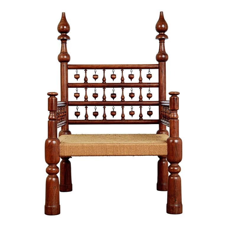 Moorish Pair of Moroccan Teak Rush Seat Throne Armchairs, circa 1960 For Sale