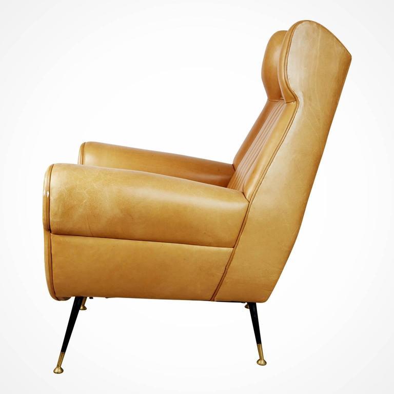 Italian Gigi Radice for Minotti Leather Wingback Chairs, Pair, Italy circa 1960 For Sale