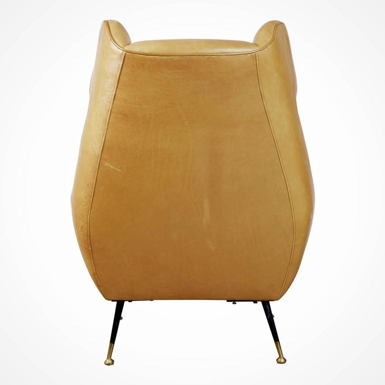 Mid-20th Century Gigi Radice for Minotti Leather Wingback Chairs, Pair, Italy circa 1960 For Sale