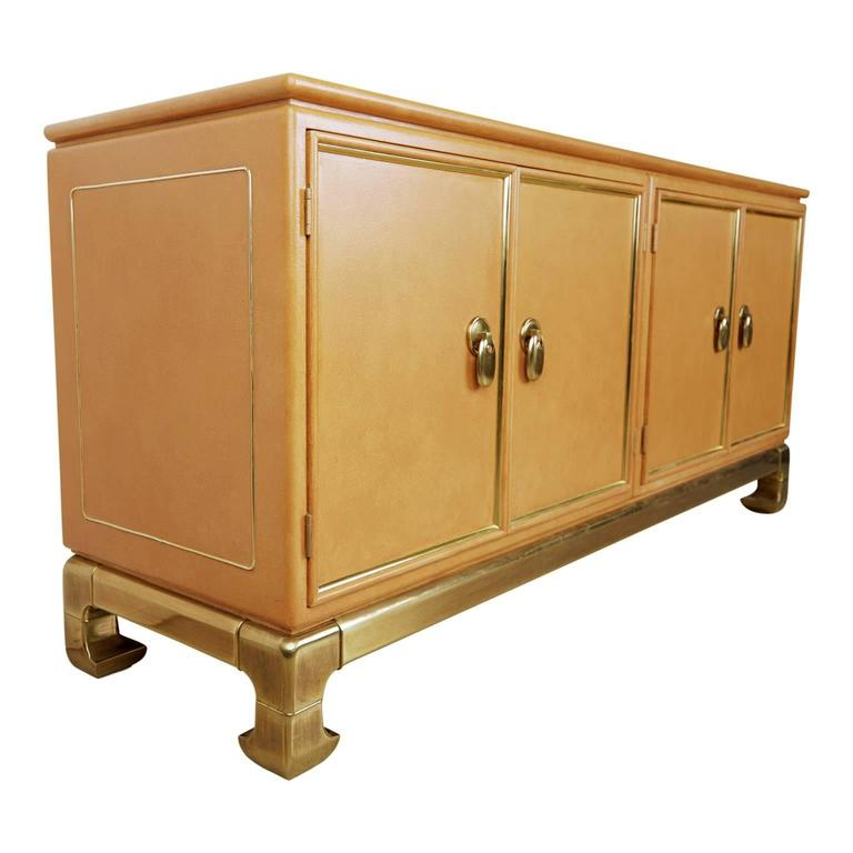 Embossed Mastercraft Lacquered Faux Ostrich Skin & Brass Credenza, circa 1970 For Sale