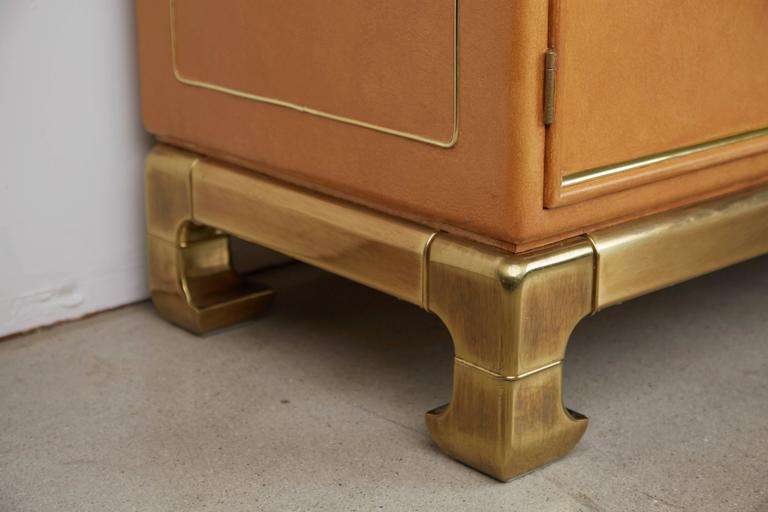Late 20th Century Mastercraft Lacquered Faux Ostrich Skin & Brass Credenza, circa 1970 For Sale