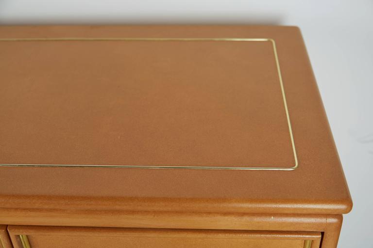 Mastercraft Lacquered Faux Ostrich Skin & Brass Credenza, circa 1970 For Sale 2