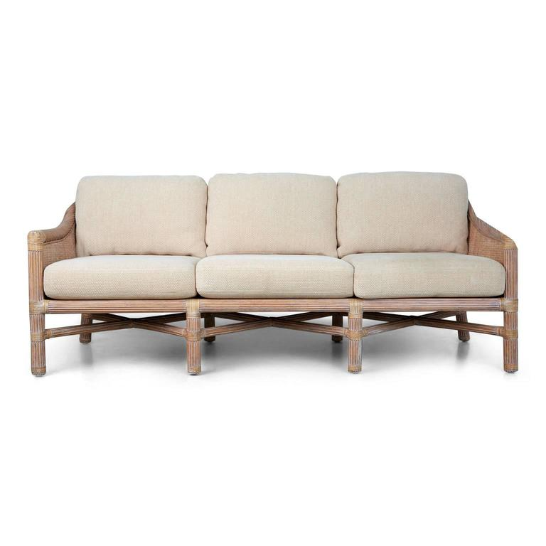 McGuire Rattan Outdoor Patio Set With Sofa, Coffee Table