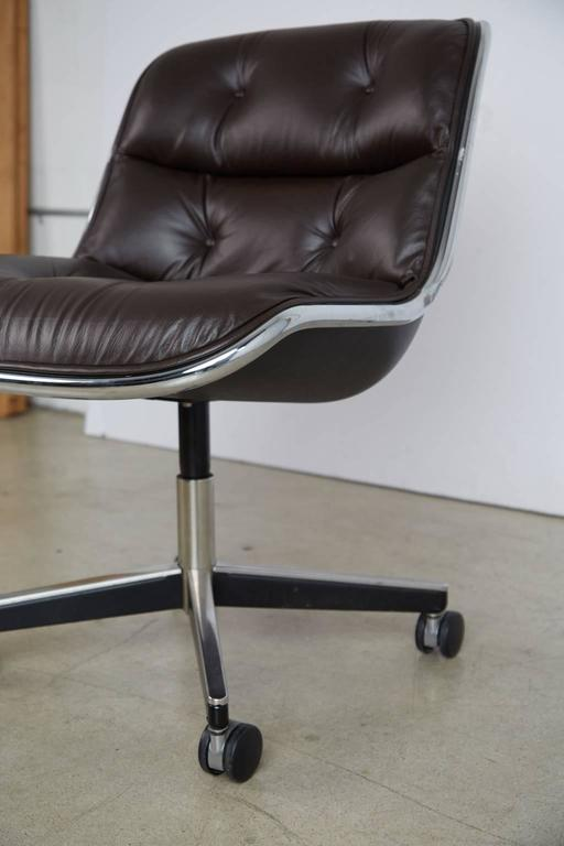Charles Pollock for Knoll Dark Brown Leather Executive Desk Chair, circa 1980 6