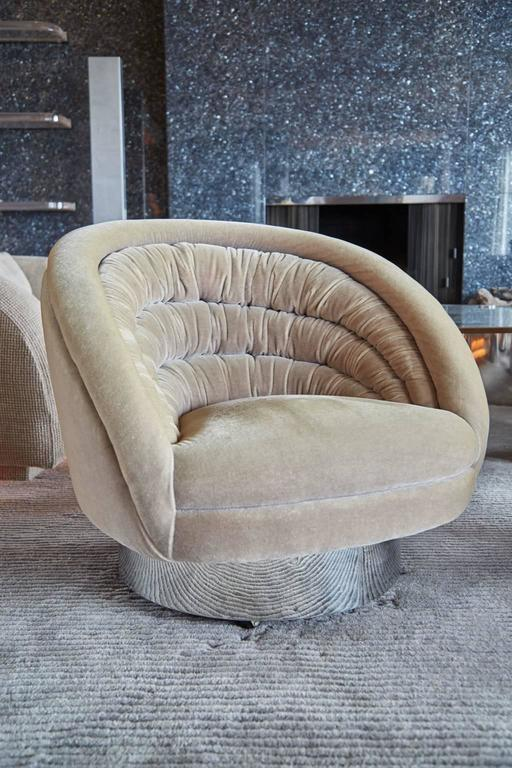 Vladimir Kagan Crescent Swivel Lounge Chairs From Chase