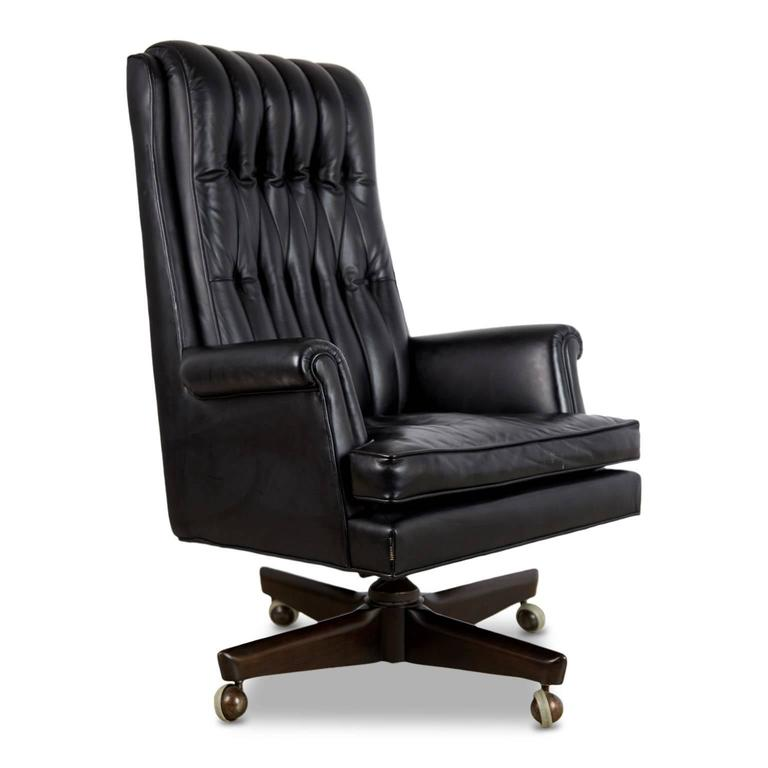Grand Scaled Leather Executive Desk Chair By Maurice Bailey For Monteverdi Young Renown